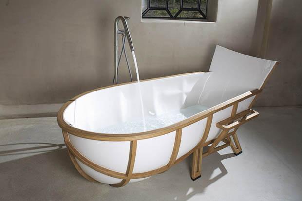 อ่างอาบน้ำกรอบไม้