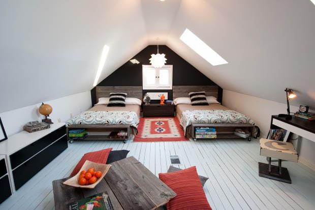 แต่งห้องนอน แบบเตียงคู่ Loft Bedroom